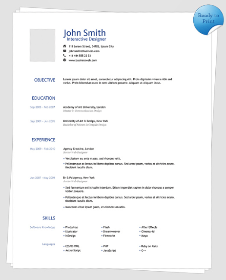 clean one page resume template preview - One Page Resume Format