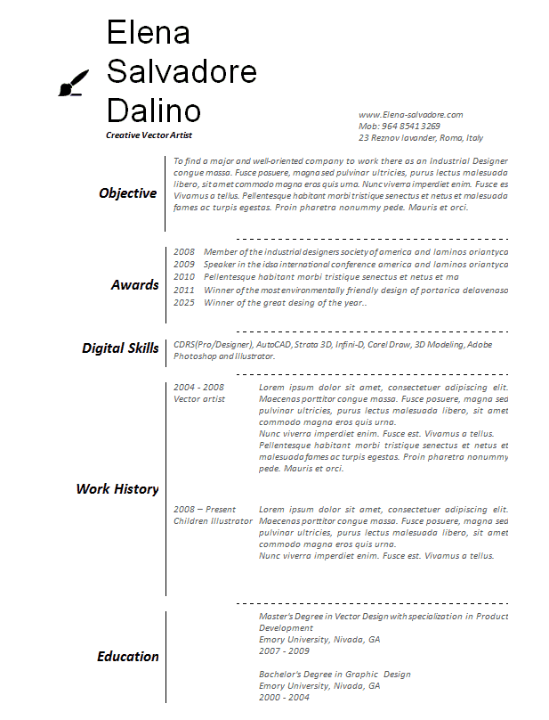 Artists Resumes  Artist Resume Templates