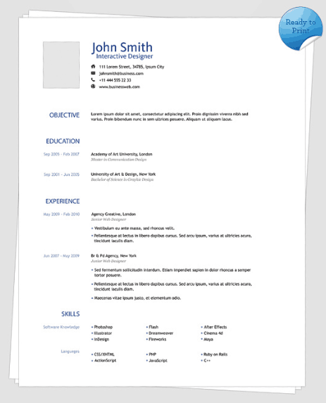 top 3 resume templates in may 2014
