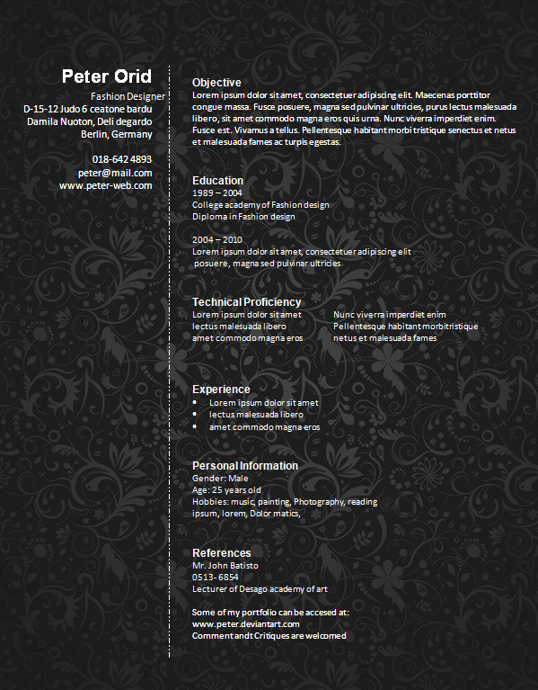 Free Fashion Designer Resume Template Preview. Fashion Designers Resume1