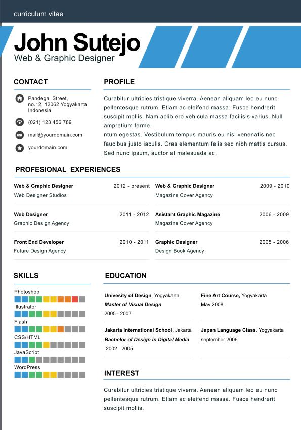 Simple One Page Resume Template images c0i81bHH