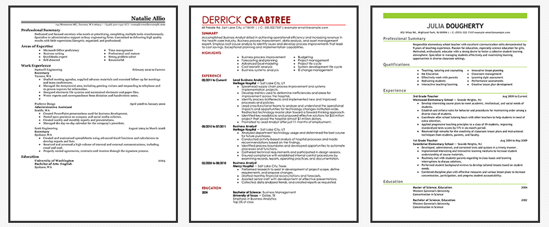 Examples Preview Of Online Resume Generator Templates  Online Resume Generator