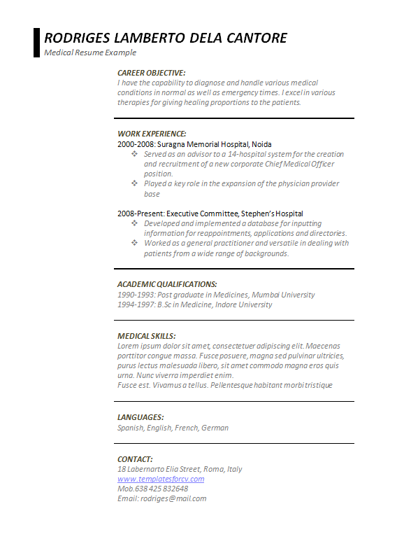 Free Word Medical Resume Template Preview