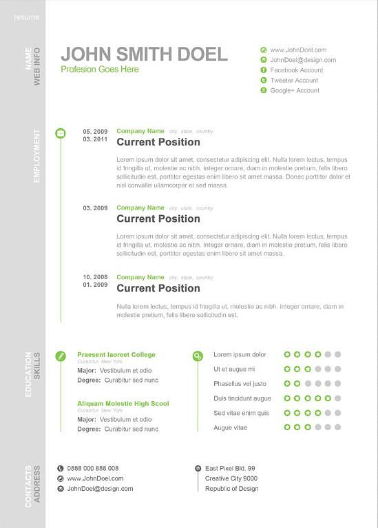 Download Modern One Page Resume Template  1 Page Resume Template