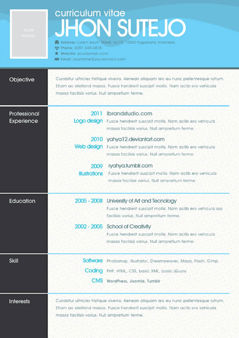 One Page Resume Template In Different Colors  Single Page Resume