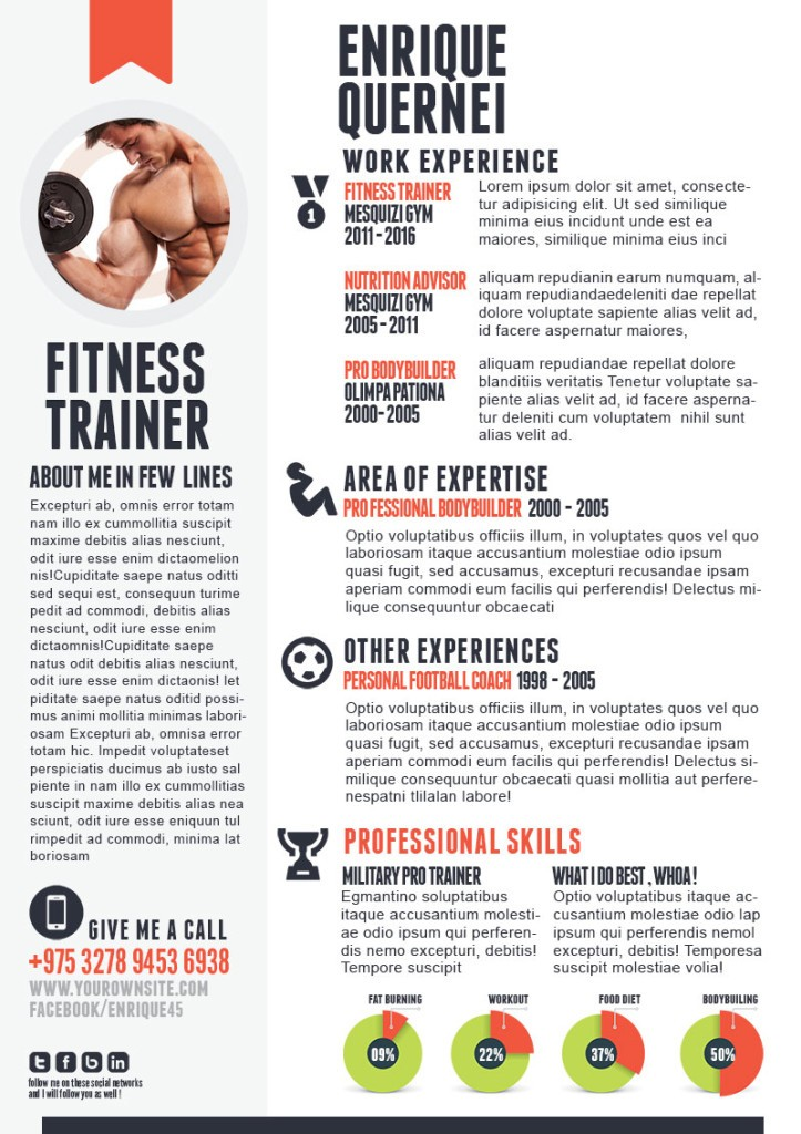 fitness resume sample