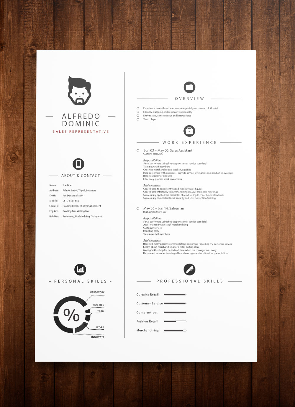 Beautiful and simple curriculum vitae template -
