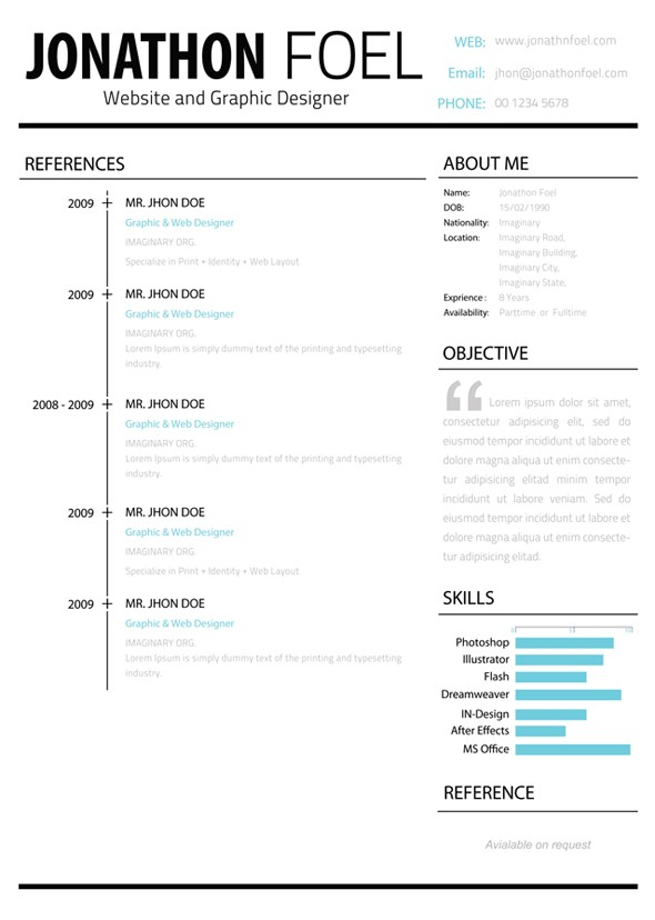 minimalistic multipage resume references page preview