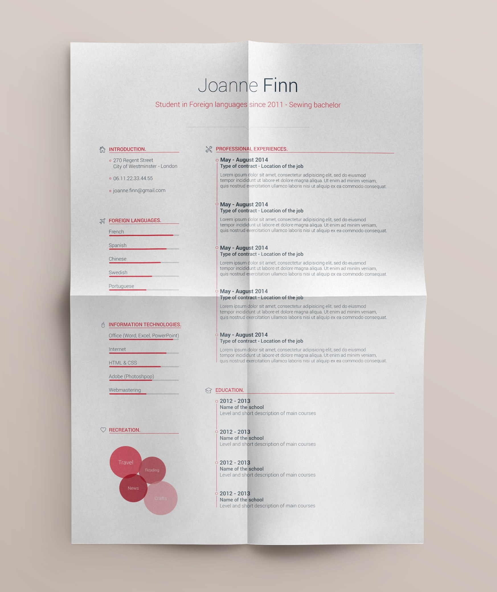 free simple and clean resume template design